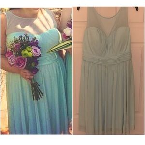 David's Bridal mint green/blue bridesmaid dress